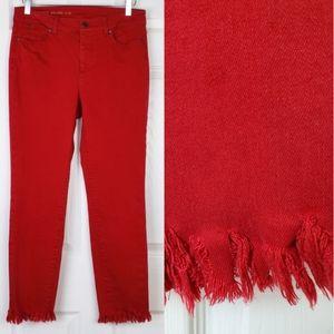 Talbots fringe ankle  crop Jeans high rise